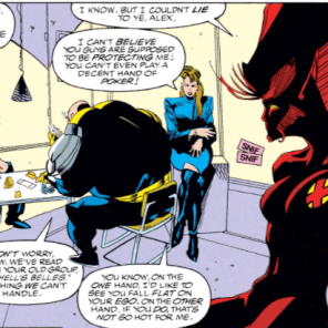 Not only did the Genegineer lock Rahne into her transitional wolf form and genetically bond her to a guy she'd barely met, but he made her really bad at poker! Dammit, dude. (X-Factor #80)