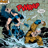 The advantage of being drawn in a 90s superhero comic is that you can do this. (Uncanny X-Men #293)