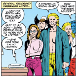 "There is definitely an alternate universe that is the same as 616 in every way except that Dai Thomas ended this call by yelling, ""The Aristocrats!"" (Excalibur #51)"
