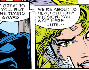 I spent a LOT of time googling jaw injuries to try to figure out what the hell the hardware on Lorna's face is supposed to be. Verdict: IT'S A MYSTERY. (X-Factor #82)