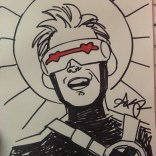 A good drawing, which is how you can tell it's not by us: Cyclops Has a Good Day, for Jay's sketchbook, by Amy Reeder!