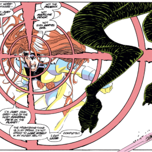 There's the mutant metaphor, and then there's the Jean Grey metaphor, which is related but not identical. (Uncanny X-Men #300)