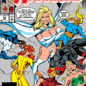 I miss when comics had dialogue on their covers! And when Emma Frost was ten feet tall. (New Warriors #10)