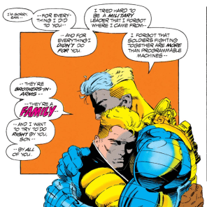 I mean, there are only two, but that's two more Cable hugs than we usually get. (X-Force #25)