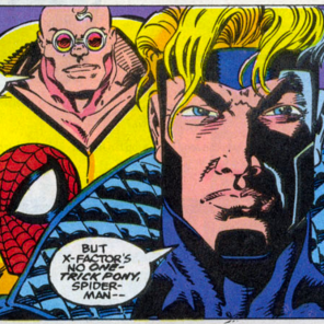 I really thought I was losing my mind briefly; but compare Havok's hair on this page... (Spider-Man and X-Factor: Shadow Games #3)