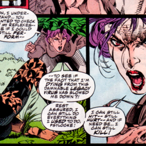 The lesions really are EXACTLY the same color as her hair. (X-Men #27)