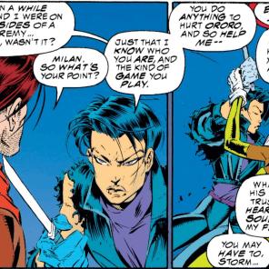 One of several shovel talks. (X-Men #312)
