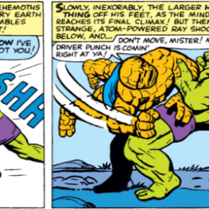And thus began the debate which continues to this day: who would win in a fight? (It was a tie.) (Fantastic Four #12)