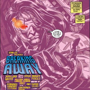 As entertaining as it is to imagine him with Schwarzenegger's accent, I guess Cyclops is more John Connor than he is the T-800. (X-Man #1)