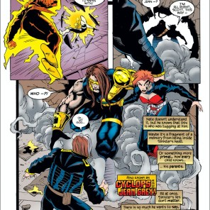 """""""Their eyes locked through the hole they'd smashed through the wall, and though they'd never truly met, they knew what they were: family."""" (X-Man #4)"""