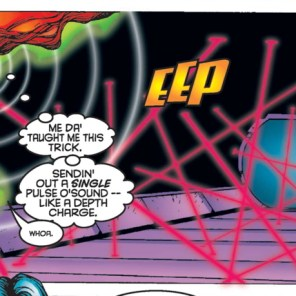 I'm not sure sound works like that, but it's still cool. (X-Force #55)