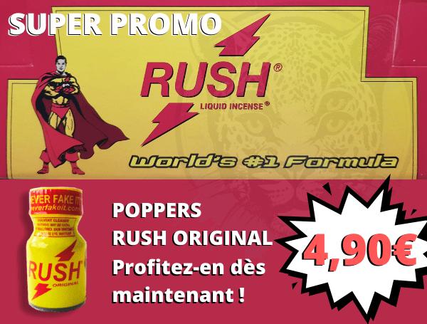 Poppers Rush Original à 4,90€ Poppers puissant, fort, et pas cher !