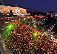 Manifestación en la plaza Syntagma