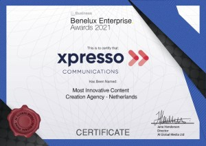 Xpresso-Communications-Awarded-Most-Innovative-Content-Creation-Agency-Benelux