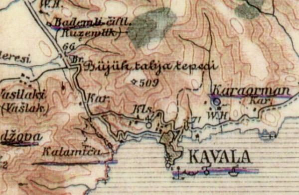 Τμήμα χάρτη του 1904 με αναφορά στο Buyuk Tabya Tepeci (Μεγάλο Οχυρό του Λόφου). Πιστεύουμε ότι η αρχική χρήση της θέσης  είναι κατά πολύ παλαιότερη.  Η περιοχή παρέμεινε οχυρωμένη μέχρι και τον Β'ΠΠ.