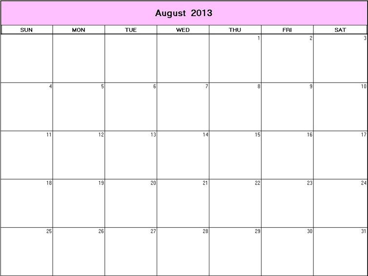 Blank Month Calendar Print