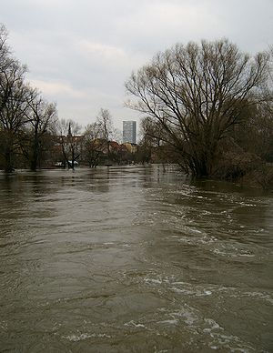 Die Alte Oder in Frankfurt (Oder) bei Hochwass...