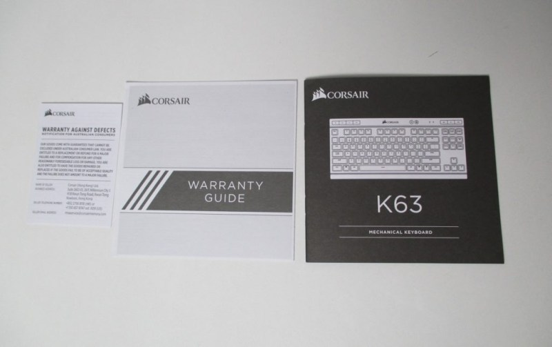 Corsair K63 Warranty cards