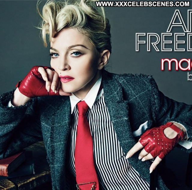 Madonna Nipples Leather Posing Hot Sexy Singer Beautiful Celebrity