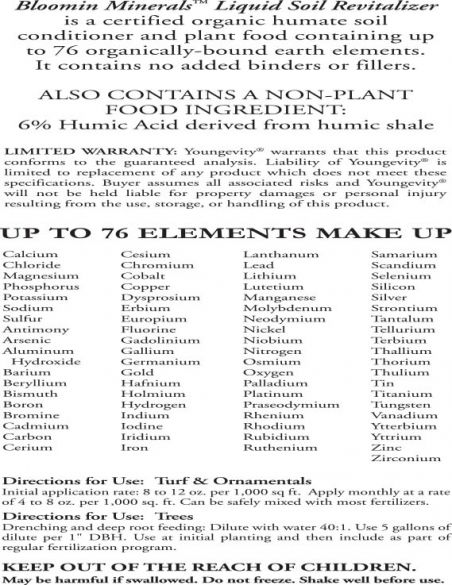 Ygy 64002 Bloomin Minerals 1qt Soil Revitalizer Prodfacts 0215