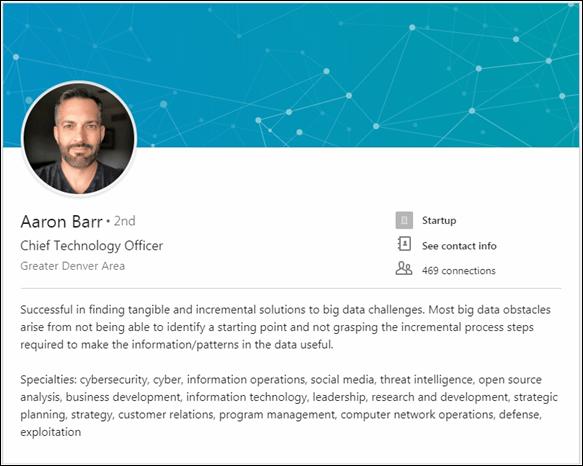 Aaron Barr LinkedIn Page 2018