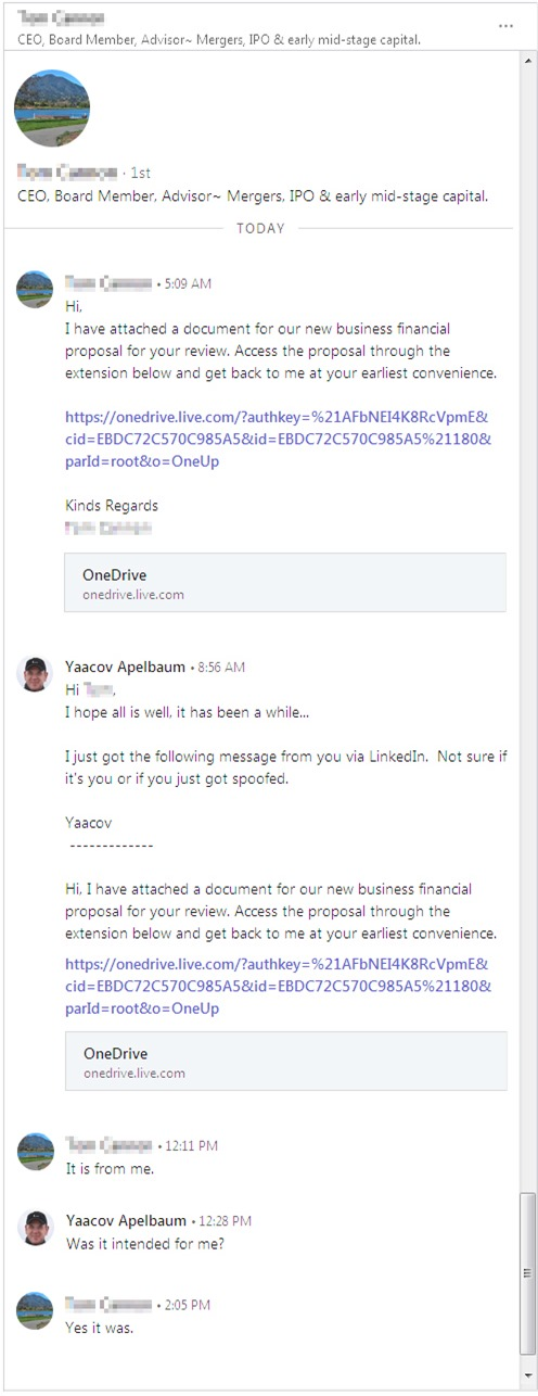 LinkedIn RT Message Phish