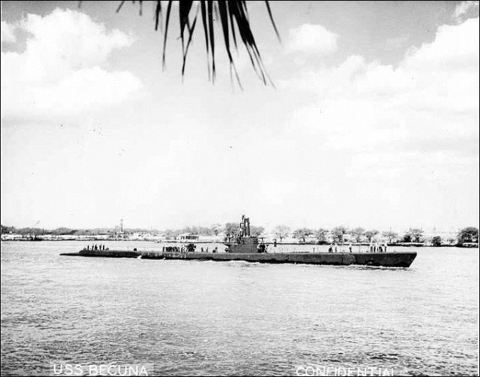 SS Becuna entering Pearl Harbor 1944-45