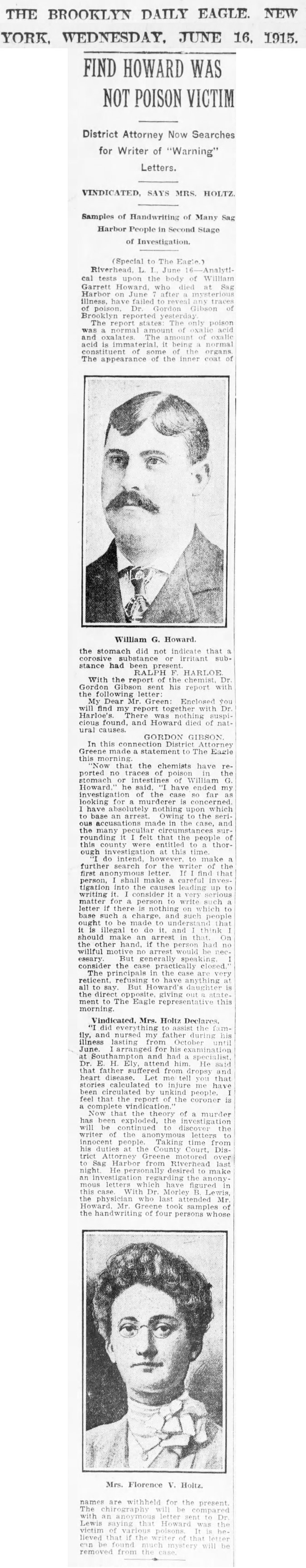 A28  6-16-1915 The Brooklyn Daily Eagle Wednesday Results
