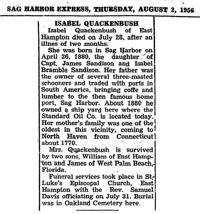 A31  7-28-1956 Isabel Quackenbush Death Clip