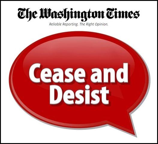 Washington Times Cease and Desist