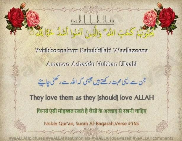 yuhibboonahum kahubbillahi-surah baqarah ayat 165
