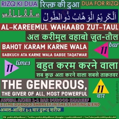 Powerful Dua for Rizq in Hindi English