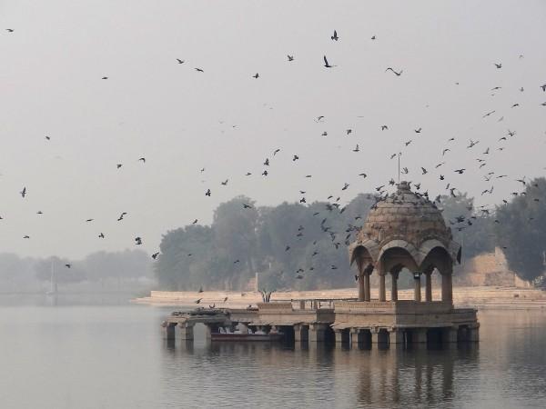 Jaisalmer promontoire sur un lac avec envol d'oiseaux
