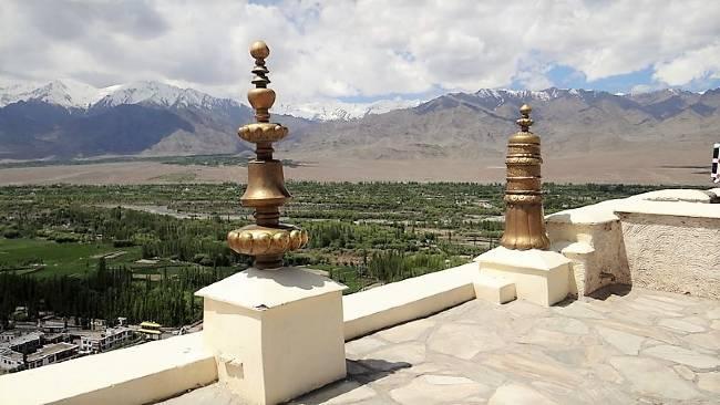 Ladakh vue d'un toit sur une vallée verte cultivée