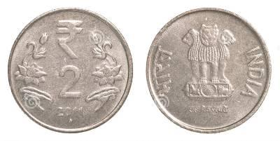 2 pièces de monnaie indienne