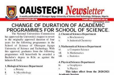 OAUSTECH notice on change of academic duration for faculty of science