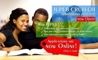 Cross River State University of Science &Technology (CRUTECH) Joint Universities Preliminary Examinations Board (JUPEB)Admission Form For 2020/2021 Academic Session