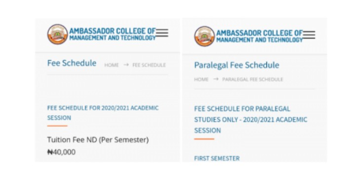 Ambassador College Of Management And Technology School Fees for 2020/2021