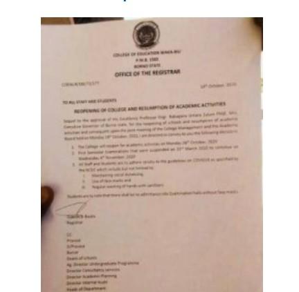 College of Education Waka-Biu Announces Resumption Date