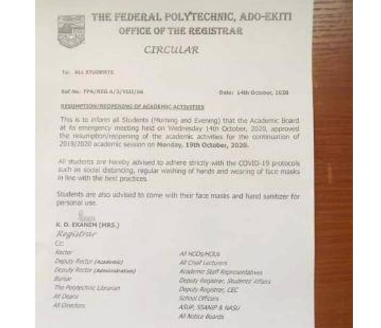 Federal Polytechnic Ado-Ekiti (FEDPOLYADO) Announces Resumption Date For Completion Of 2019/2020 Session