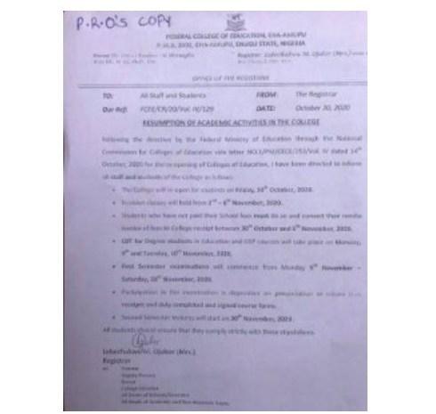 Federal College of Education Eha-Amufu Announces Resumption Date