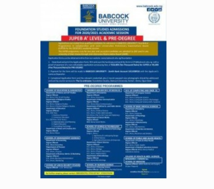 Babcock Foundation programme (JUPEB/Pre-degree) admission for 2020/2021 session