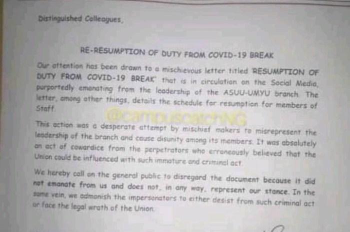 ASUU UMYU Debunks Resumption Notice