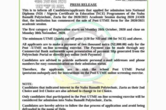 Nuhu Bamalli Polytechnic (NUBAPOLY) Post UTME Form for 2020/2021 Academic Session [ND Full-Time]