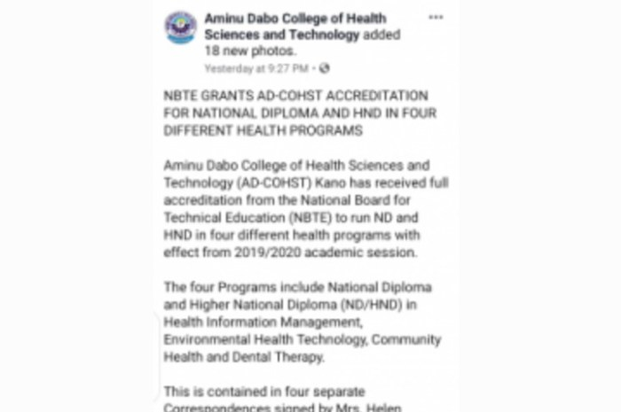 AD-COHST Gets Accreditation To Run ND And HND Courses In Four Different Health Disciplines
