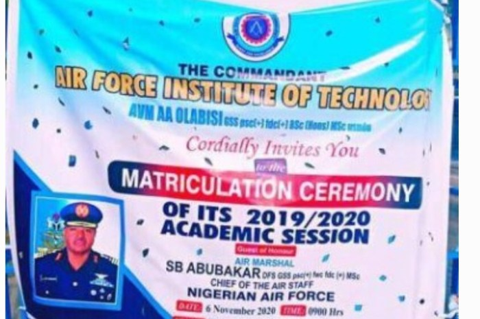 Air Force Institute Of Technology (AFIT) Notice On 2019/2020 Matriculation Ceremony