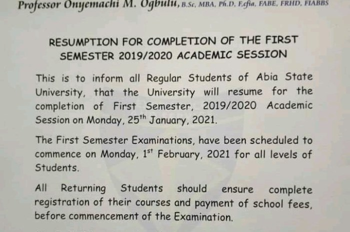 Abia State University (ABSU) Announce Resumption  Date for Completion of 2019/2020 Session