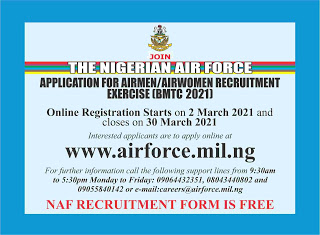 NAF Recruitment Form for Airmen and Women 2021/2022 (BMTC 2021)