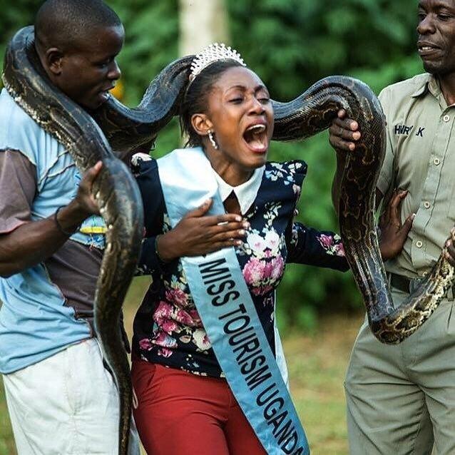 Miss Tourism Uganda Snake