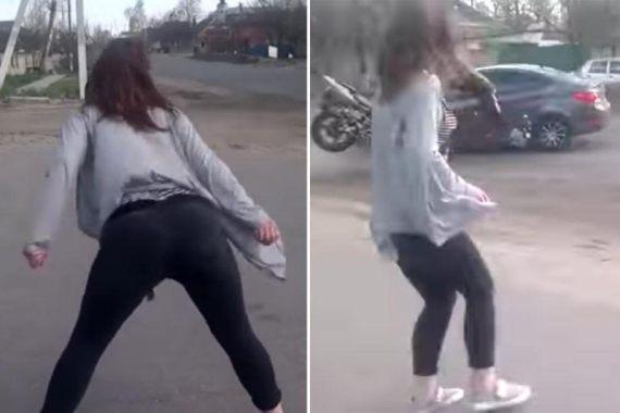 twerking lady causes major accident